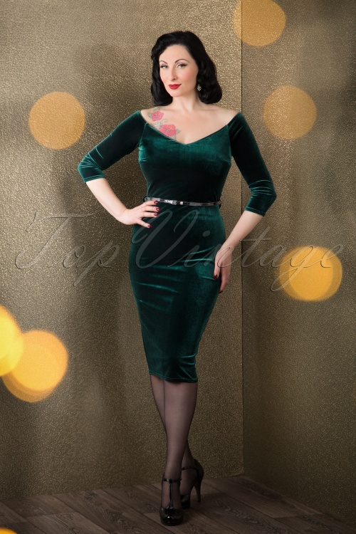 Vintage Chic  50s Velvet Chic Velvet Green Pencil Dress  17281 20151105 0003W