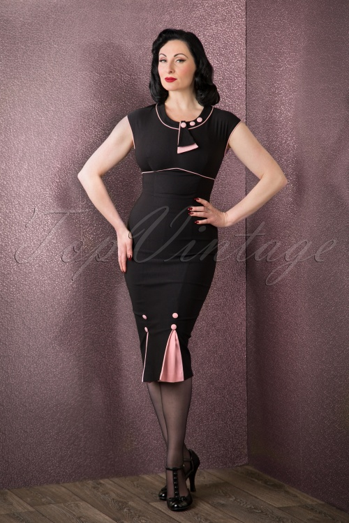 Stop Staring 40s Bombshell Black and Pink Pencil Dress 100 10 16690 11052015 002W