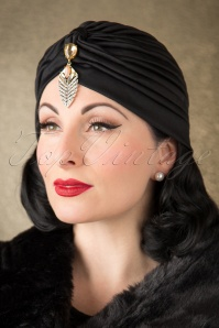 50s Sally Sateen Turban Hat in Black