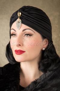 Sally Sateen Turban Hat Années 50 en Noir