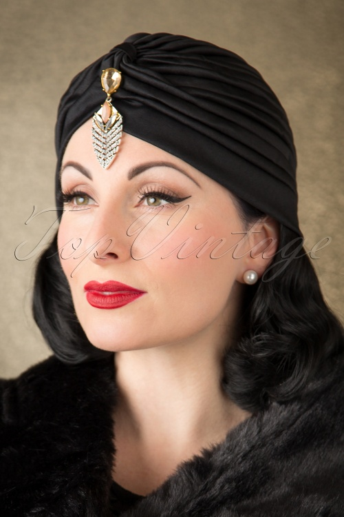 1920s Flapper Headbands 50s Sally Sateen Turban Hat in Black £7.76 AT vintagedancer.com