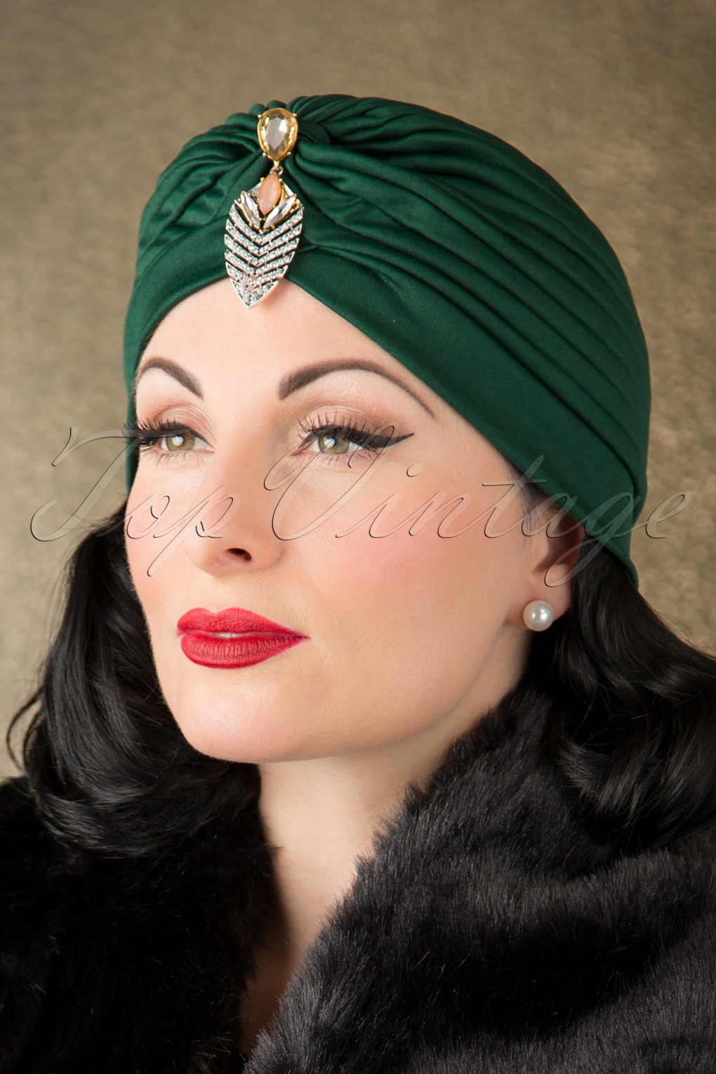 1940s Hairstyles- History of Women's Hairstyles 50s Sally Sateen Turban Hat in Green £7.99 AT vintagedancer.com