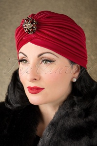 50s Sally Sateen Turban Hat in Burgundy