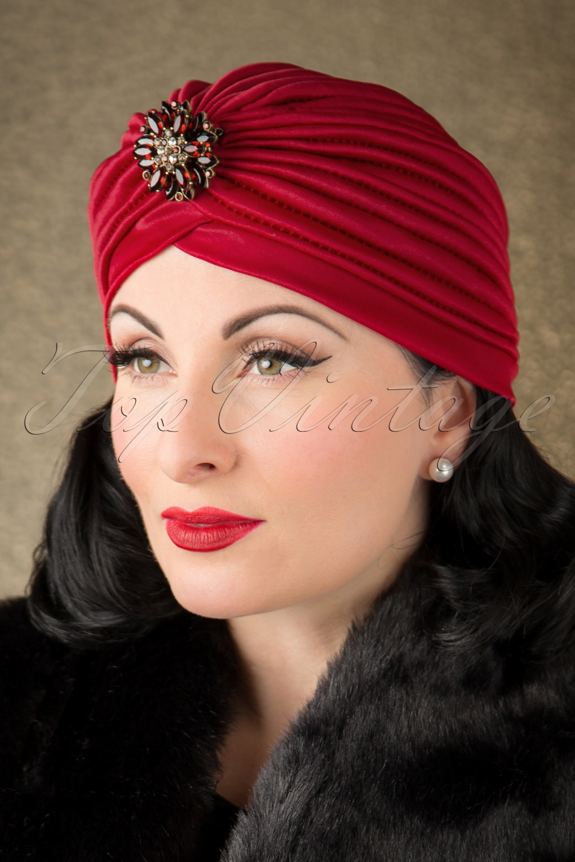 50s Sally Sateen Turban Hat In Burgundy
