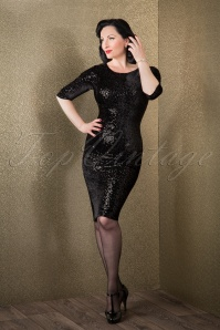 50s Twinkle Sequin Pencil Dress in Black