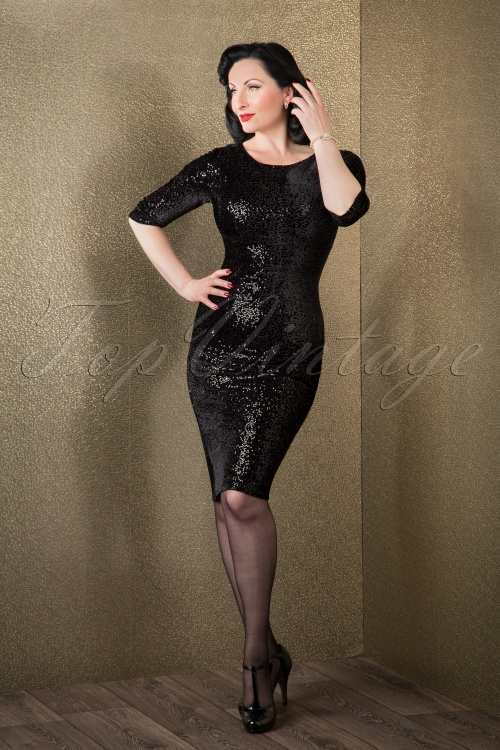 Vintage Chic Sequins pencil dress Black 100 31 14439 11052015 011W