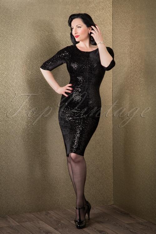 Vintage Chic Sequins pencil dress Black 100 31 14439 11052015 011W