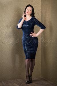 50s Twinkle Sequin Pencil Dress in Navy