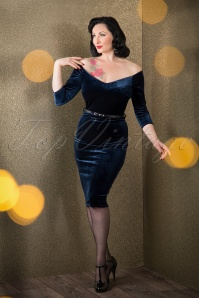 50s Lena Velvet Pencil Dress in Navy