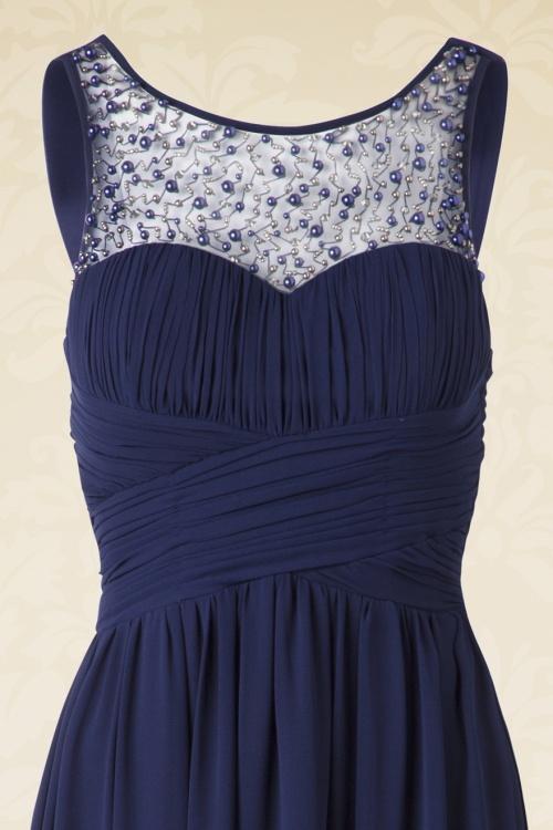 Donkerblauwe Maxi Jurk.50s Cinderella Embellished Detail Maxi Dress In Navy