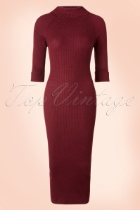 50s Olive Knitted Pencil Dress in Burgundy