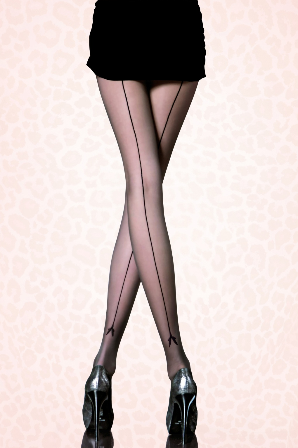 Seamed Stockings, Nylons, Tights Miriam Patterned Tights in Black £6.35 AT vintagedancer.com