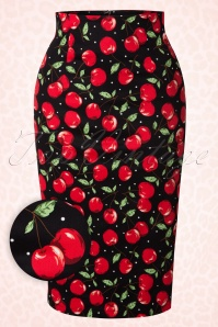 50s Falda Cherry Pencil Skirt in Black