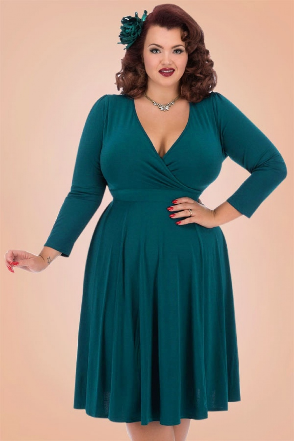 Teal Dresses With Sleeves