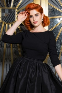 50s Laura Byrnes California Sabrina Top in Black