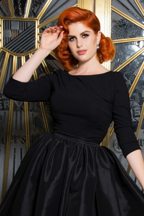 Pinup Couture Laura Byrnes 50s Black Sabrina Top 113 10 17489 1