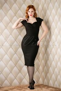 50s Thalia Pencil Dress in Black