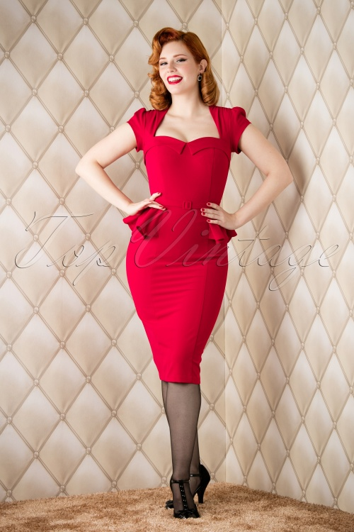50s Audrey Peplum Dress in Red