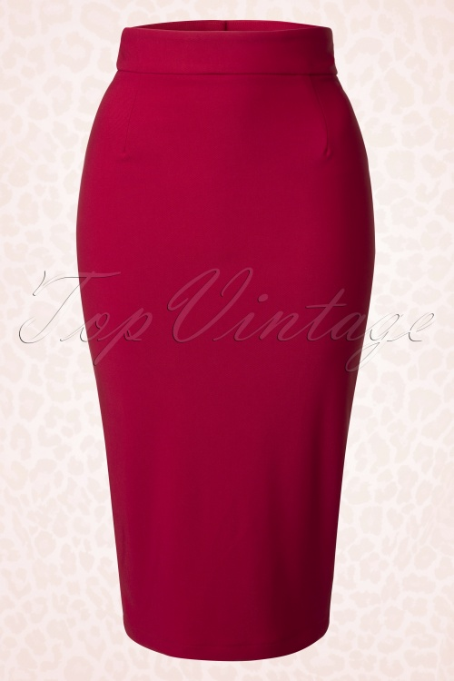 Bettie Page Clothing High Time Red Pencil Skirt 120 20 17240 20151120 0010WA
