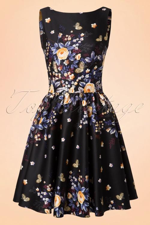 Lady V Winter Butterfly Black Floral Dress 102 14 17290 20151120 0009W