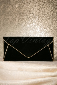 60s Lucy Black Vintage Envelope Clutch