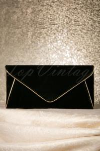 60s Lucy Black Vintage Envelope Clutch