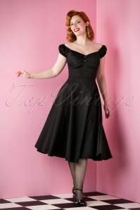 50s Dolores Doll Swing Dress in Black