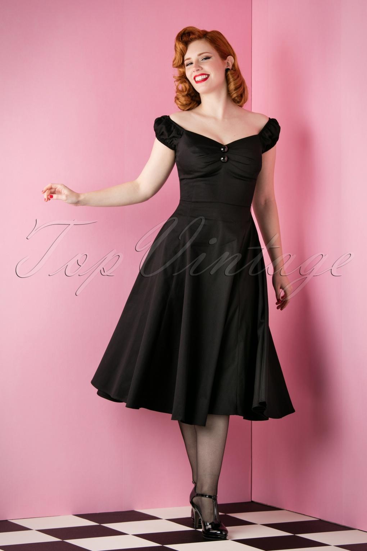 8d1a92f9455b51 50s Dolores Doll Swing Dress in Black