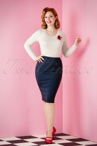 Collectif Clothing Polly Plain Blue Pencil Skirt 120 31 16178 20151118 003W