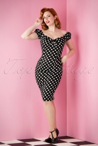 Collectif Clothing Dolores Dress Polkadot années 50 en Noir