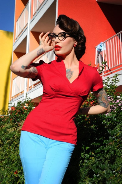 Pinup Couture Red Blouse 112 20 10845 3