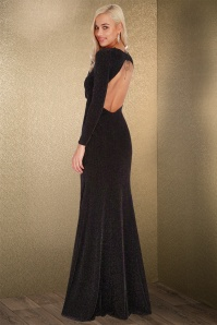 70s Elvira Glitter Backless Maxi Dress in Black