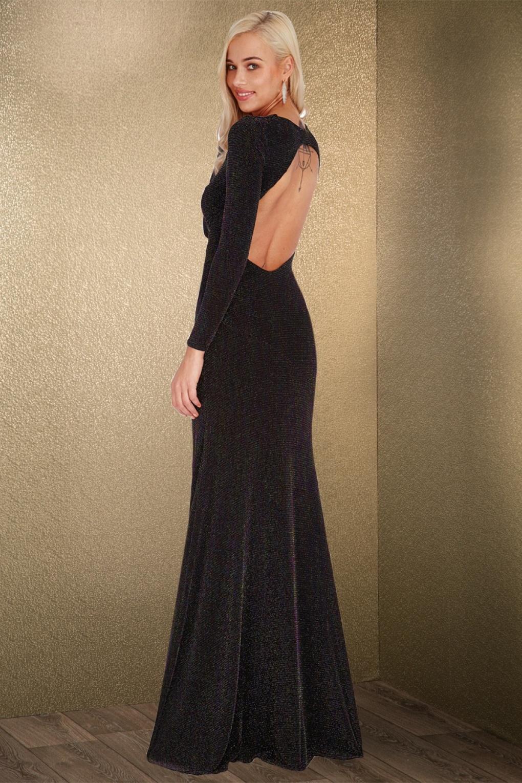 70s Elvira Glitter Backless Maxi Dress in Black
