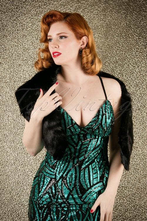 Piarossini Monroe scarf 249 10 14025 Vintage Chic Patterned Emerald Green Sequin Party Dress 108 49 17476 20151118 017W