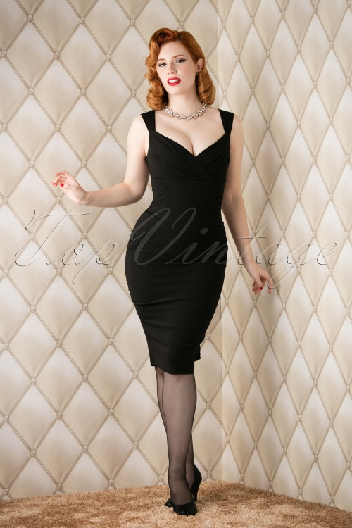 Collectif Clothing  Audrey Pencil Dress Black 100 20 12110 20151118 006W