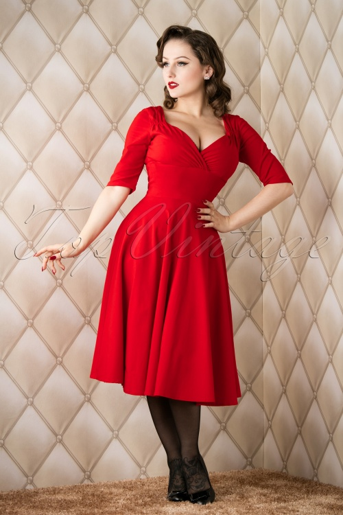 Collectif Clothing red trixie doll swing dress  102 20 14342 20151118 006W