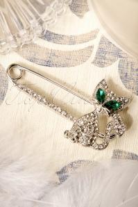 60s Green Eyes Kitty Cat Brooch in Silver