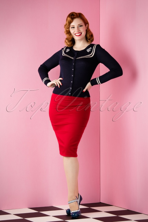 Collectif Pencil Skirt in Red 10265 11182015 004W