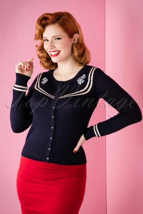 Vixen Sailor Anchor Cardigan in Navy 140 30 11853 20151118 004W