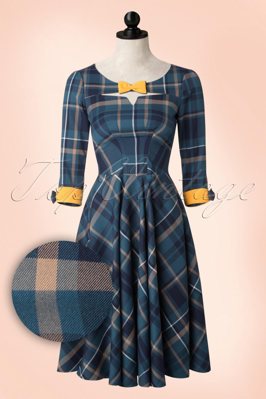 50s sylvana swing dress in petrol and yellow tartan. Black Bedroom Furniture Sets. Home Design Ideas