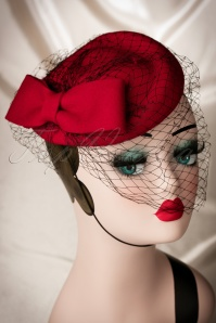 50s Lucy Bow Hat in Red Wool