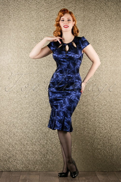 Vixen Blue Printed Bird Dress 102 39 16282 20151118 008W
