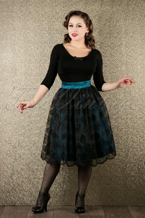 Vixen Blue Floral Swing Skirt 122 39 16290 20151118 001W