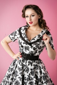 Bunny 50s Black and White Roses Swing Dress 102 59 14646 20151118 029W