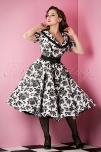 Bunny 50s Black and White Roses Swing Dress 102 59 14646 20151118 020W