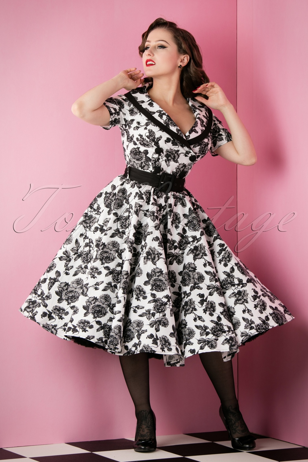 50s Honor Floral Swing Dress In Black And Ivory