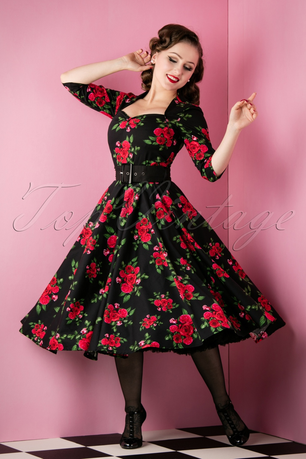 1940s Pinup Dresses for Sale Eternity 50s Black Swing Dress Red Roses £61.96 AT vintagedancer.com
