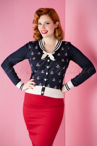 Sailor Anchors Bow Cardigan in Navy