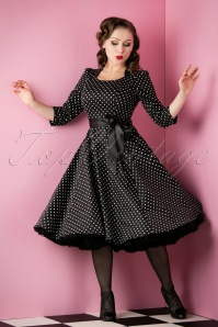50s Sofie Polkadot Swing Dress in Black And White