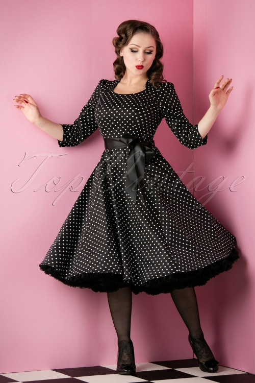 Hearts and Roses Black and White Swing Polkadot Dress 102 14 14134 20151118 022W